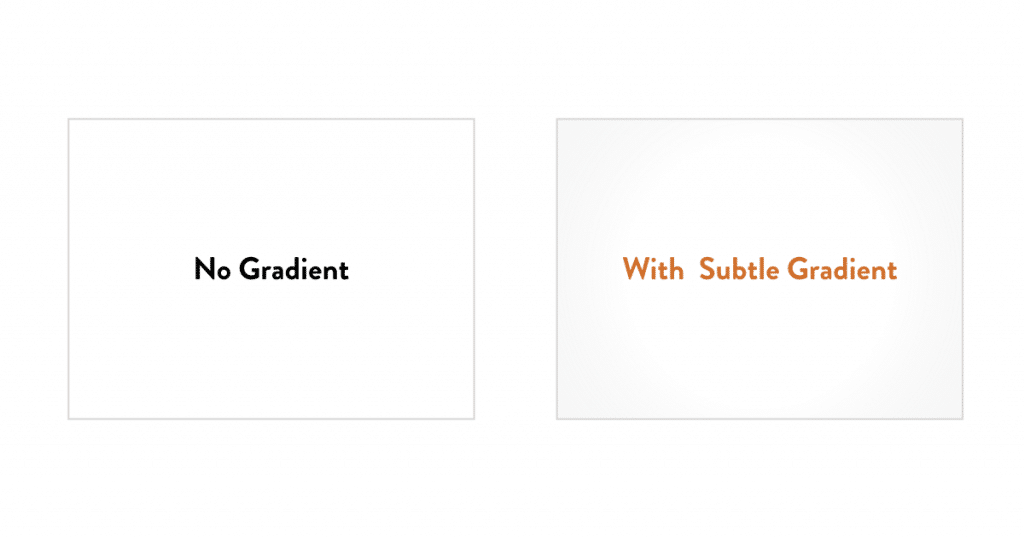 Using gradients and not using gradients for presentation design